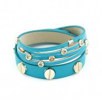 Bright turquoise Festival Crystal Stud Wrap Around Bracelet by Jolie Bijoux at www.treasurebox.co.uk