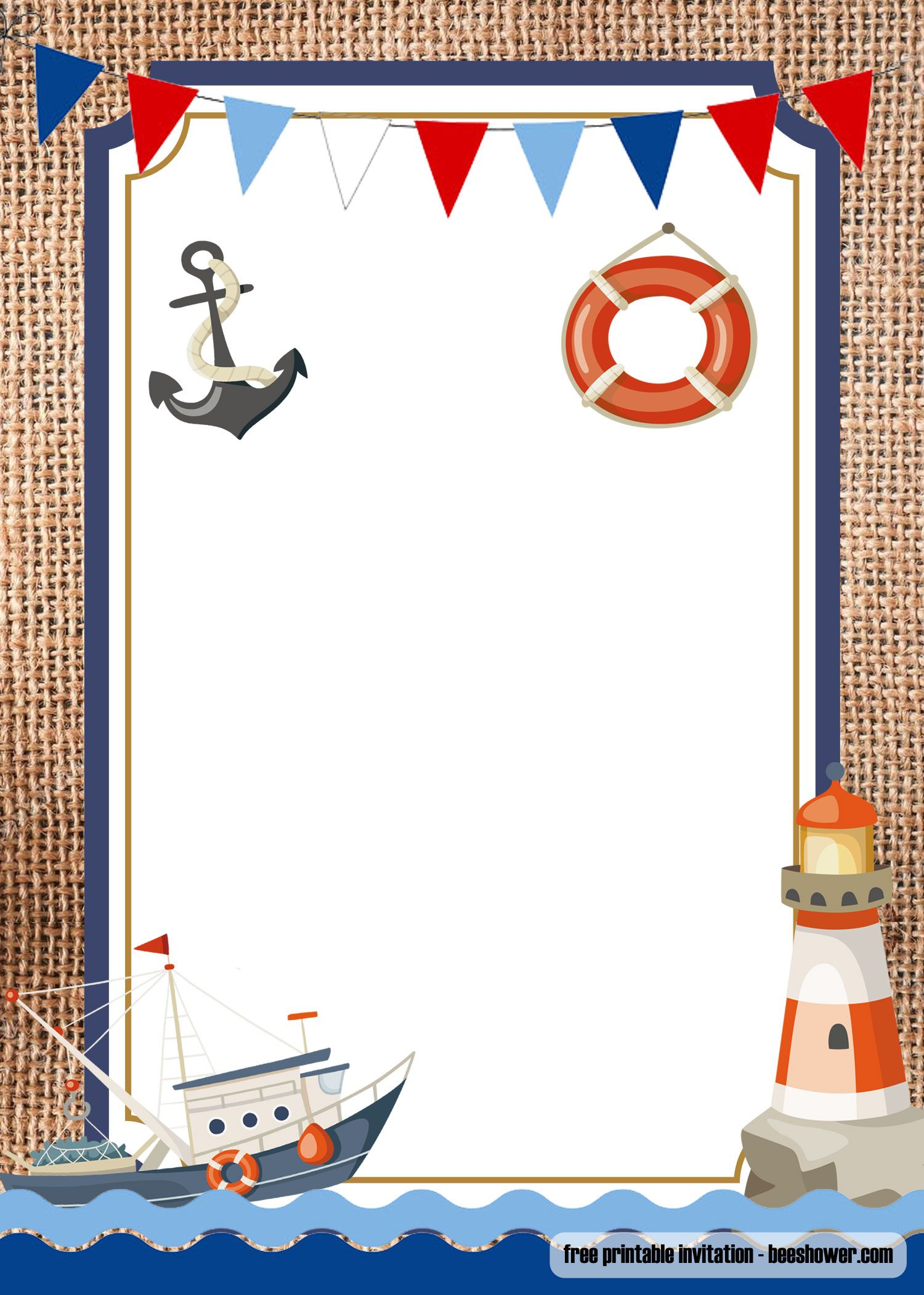 FREE Nautical Theme Baby Shower Invitations Templates