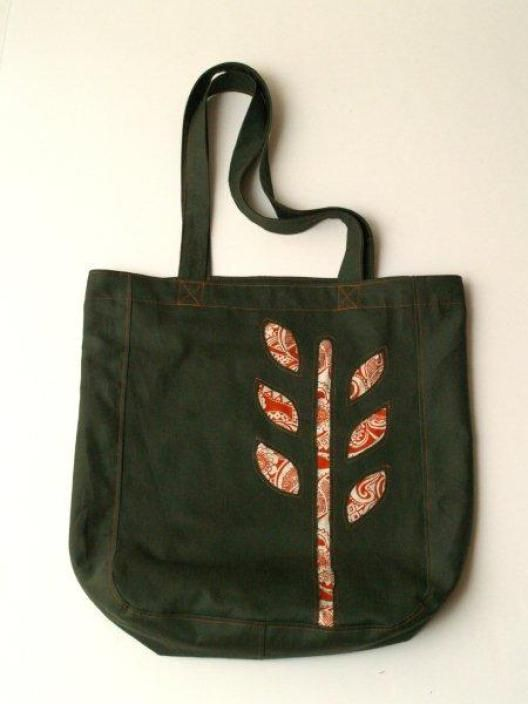 Reverse Applique Paisley Leaves Book Tote - | Nähideen