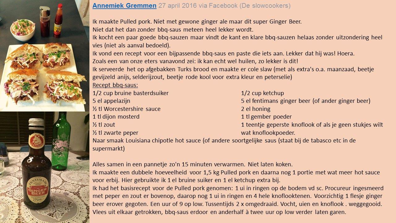 pulled pork met zelfgemaakte bbq saus; een recept van Annemiek Gremmen