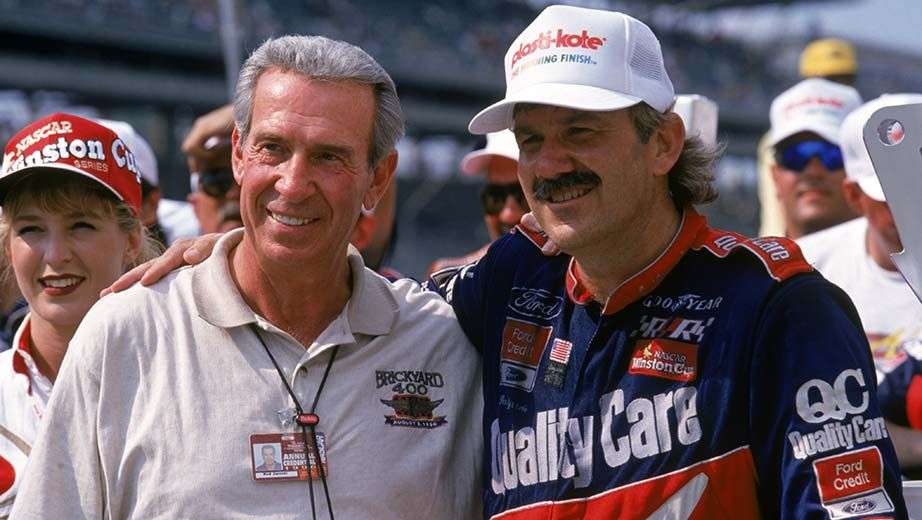 Dale Jarrett was voted into the NASCAR Hall of Fame in part because of his marquee wins. He celebrated one such victory, the 1996 Brickyard 400, with father Ned Jarrett.
