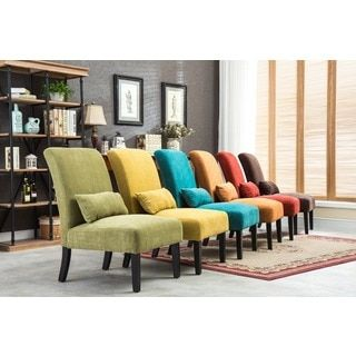 Shop For Pisano Chenille Fabric Armless Contemporary Accent Chair With  Matching Kidney Pillow. Get Free
