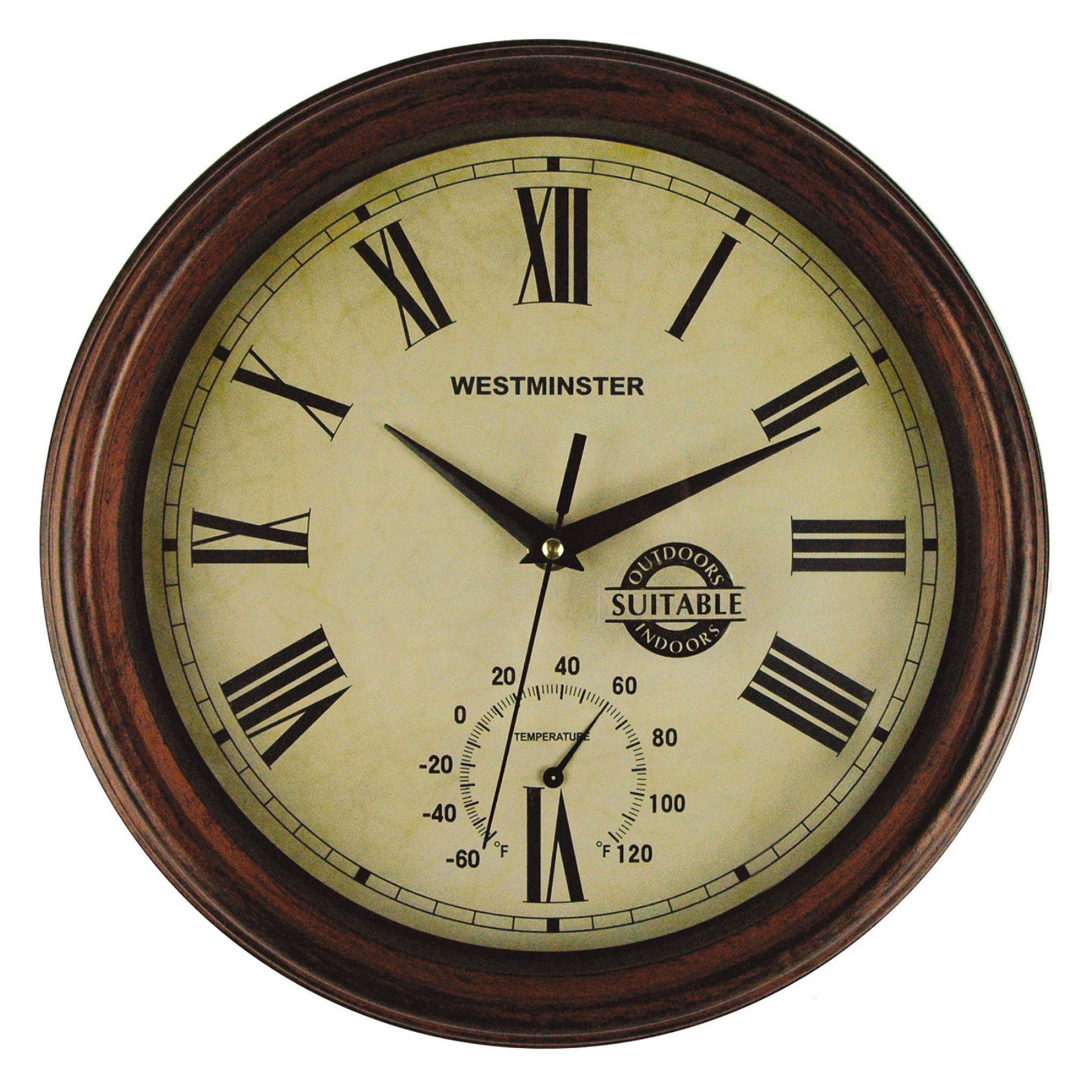 Luster Leaf 12 in. Wood York Clock with Thermometer - 3200-0291 ...