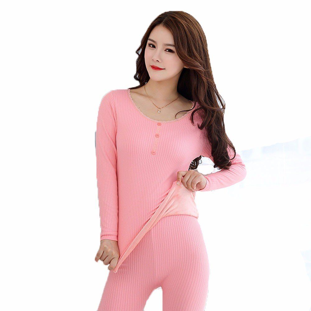 a66d77adffe1 Amazon.com: LVLIDAN Womens Thermal Underwear Sets Long Sleeve trousers Winter  Thin Slim Fit Round neck Free size Beige: Sports & Outdoors