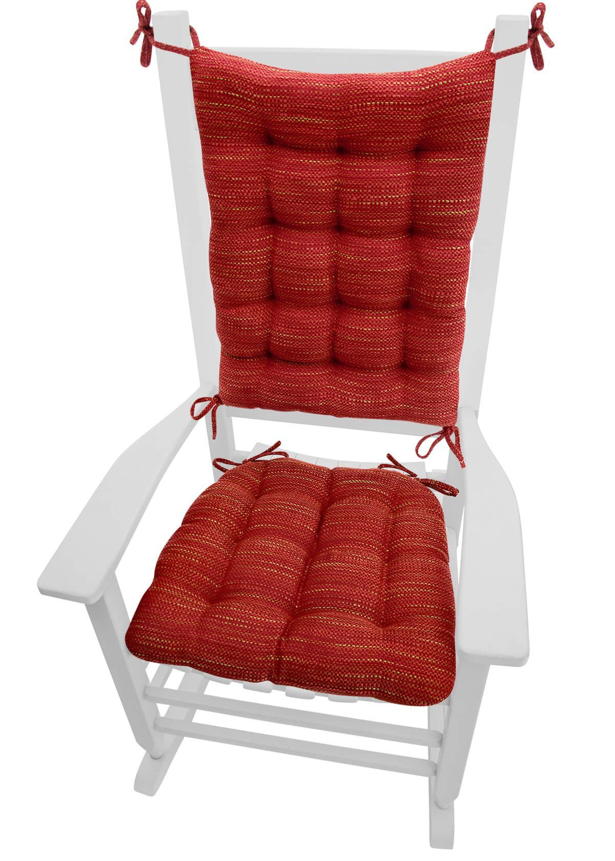 Brisbane Red reversible, latex fill rocking chair cushions are made of a basketweave upholstery fabric in juicy Macintosh red with threads of golden delicious and granny smith green. #valentine #love