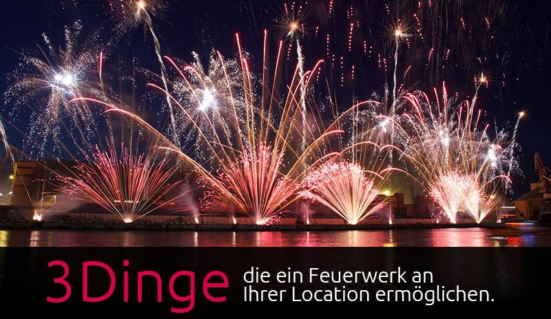 Locations sind sich oft nicht sicher, ob ein Feuerwerk bei Ihnen möglich ist. Hier haben wir die wichtigsten Infos für Locations zum Thema Feuerwerk zusammengefasst.