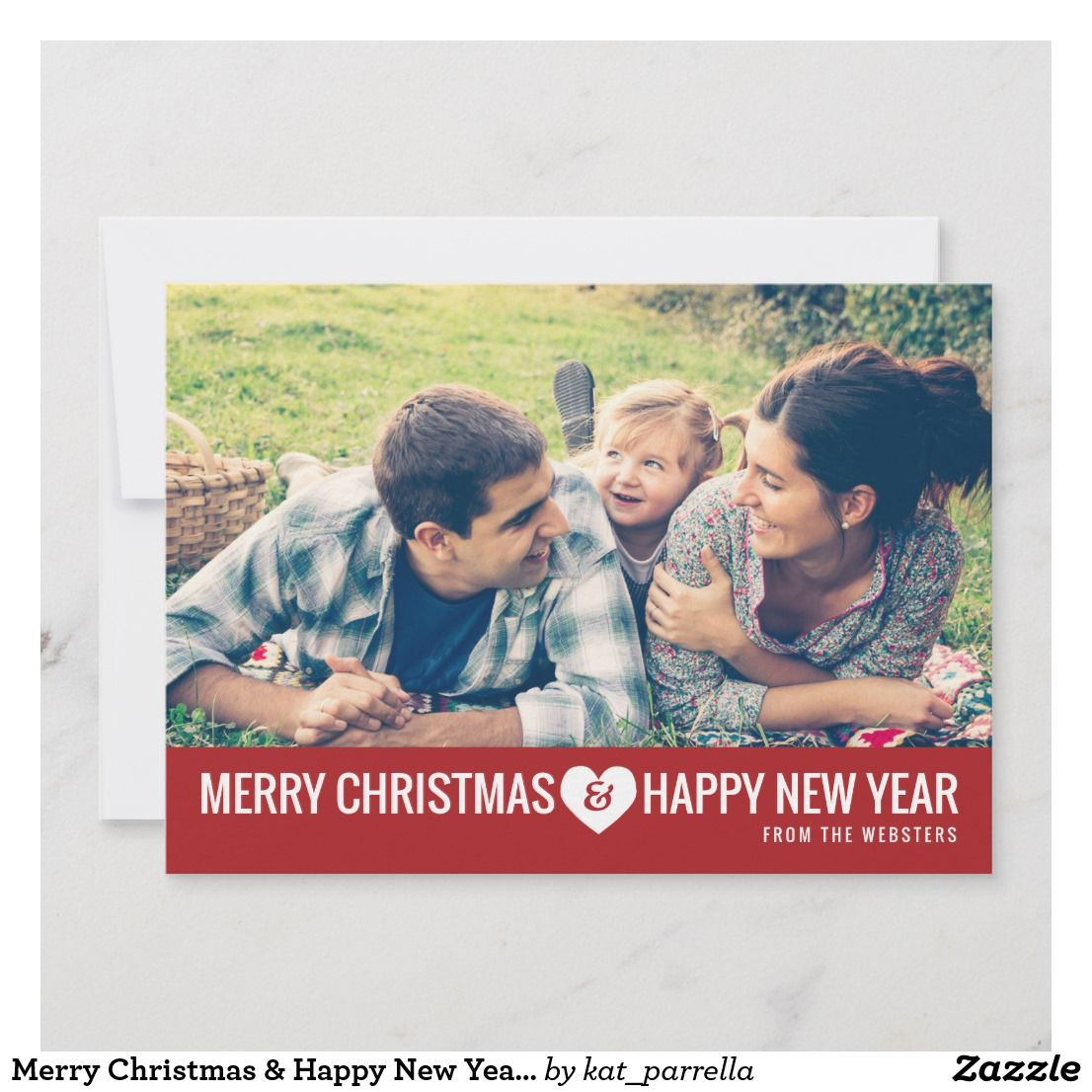 photo greeting holiday card a modern wish for a merry christmas a happy new year is sent with this contemporary typography design with a bottom border