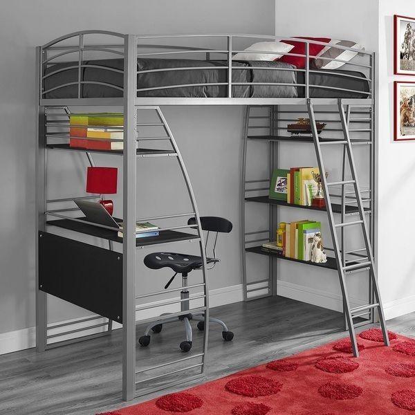 metal bunk bed with desk. Fine Bunk Loft Bunk Bed Desk Kidu0027s Twin Metal Computer Bookshelf Grey Teenu0027s  Boyu0027s DHP Intended With 3