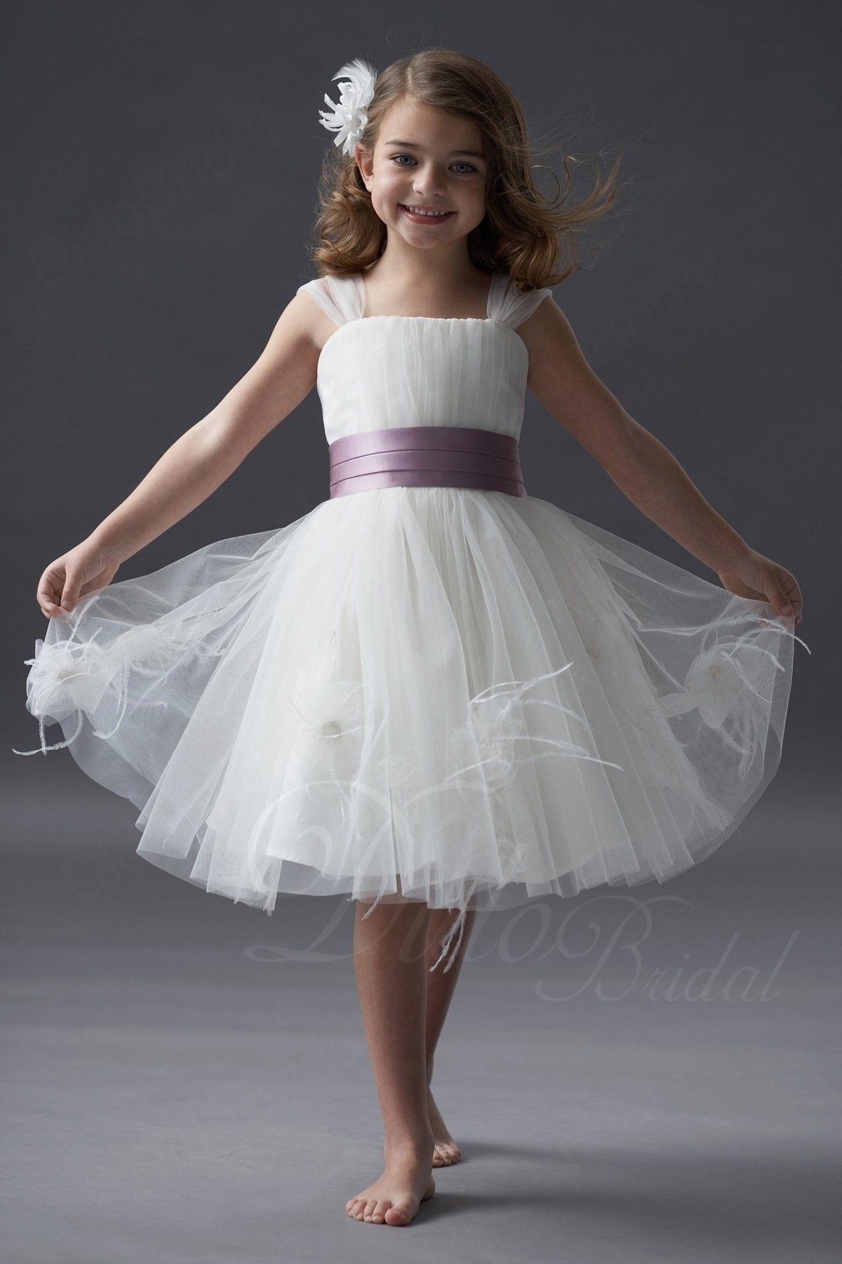 72 aline straps kneelength tulle flower girl dress
