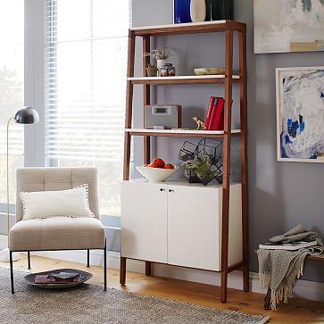 Modern Wall Cabinet Bookcase, Pecan/White Modern cabinets, Modern