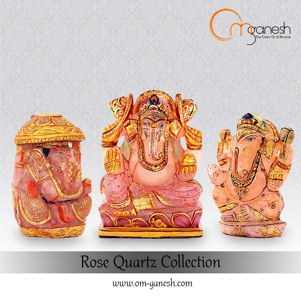 Idols Of Lord Ganesha Carved From Exquisite Rose Quartz Is A Symbol