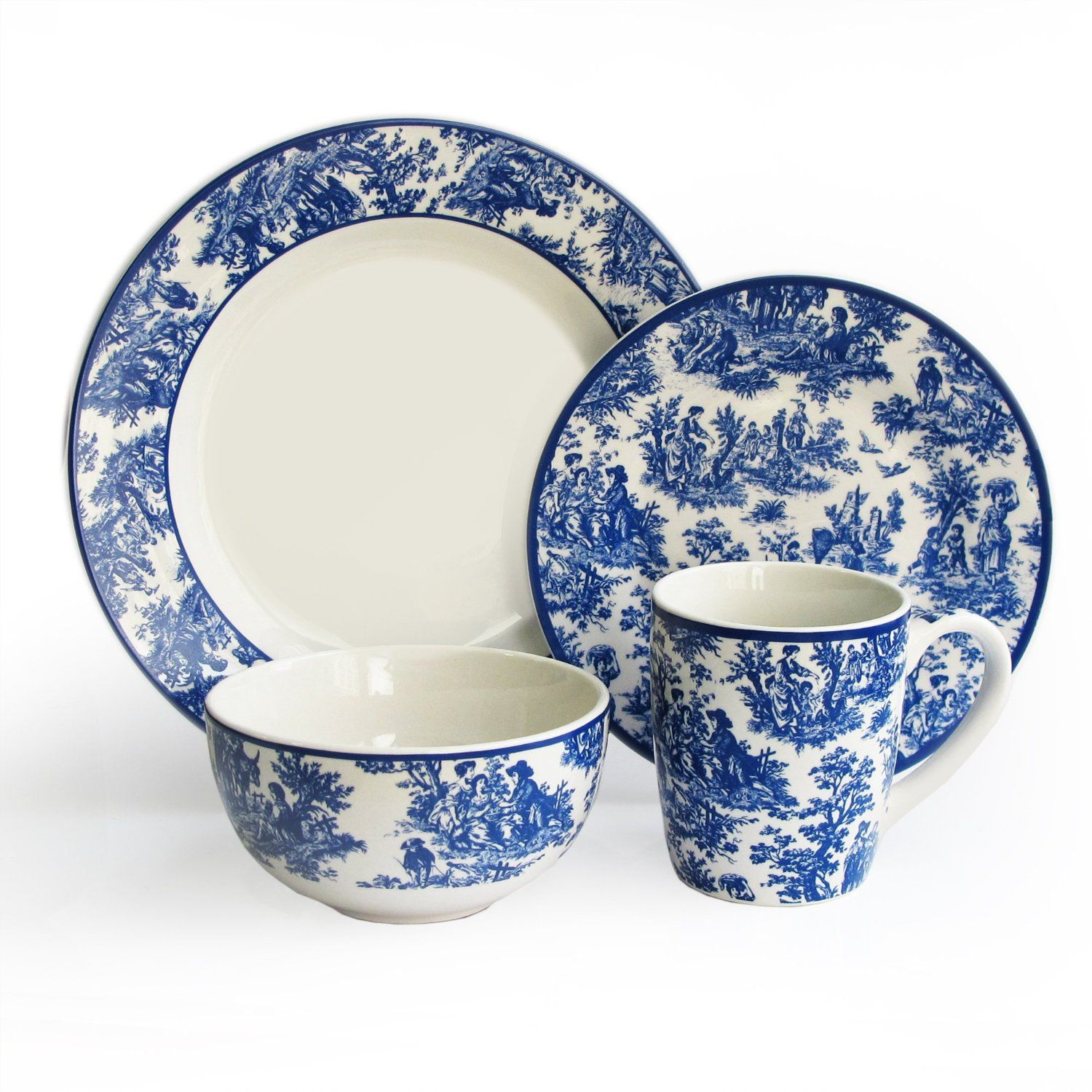 Waverly country life 16 piece dinnerware set for Blue kitchen set