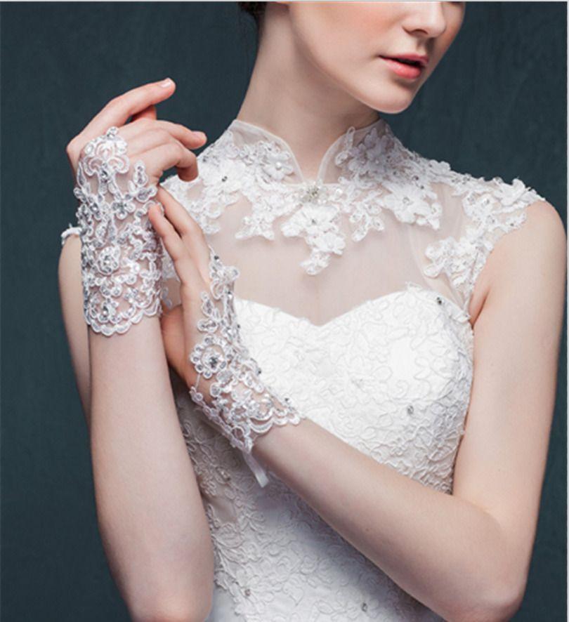 Elegant White Red Ivory Wedding Gloves Lace Applique Short