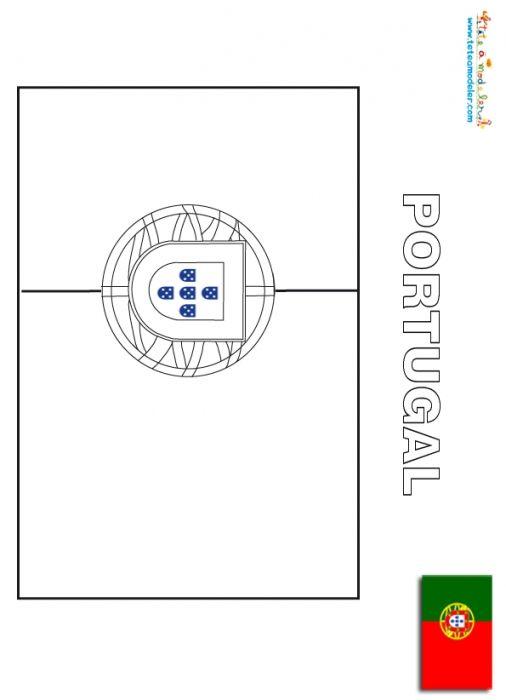 Coloriage du drapeau du portugal les drapeaux du monde - Drapeau portugais a imprimer ...