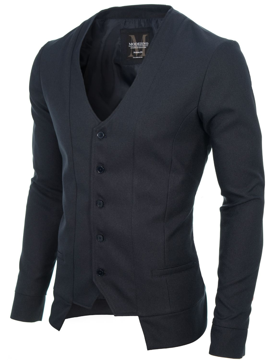 Mens slim fit long sleeve vest cardigan charcoal (MOD16130V) in 2019 ... 4a006bead10