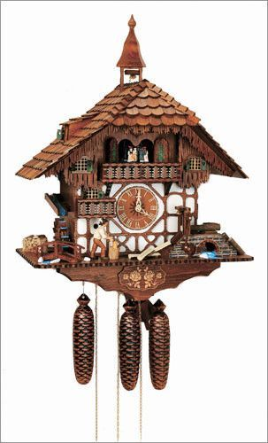 "Schneider Black Forest 24"" Musical Wood Chopper Eight Day Movement German Cuckoo Clock"