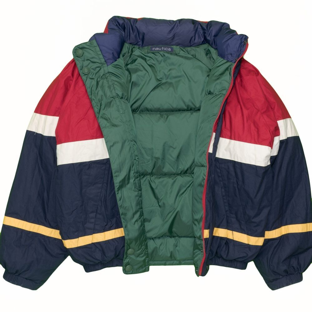 eb5906d5651f6 Vintage Nautica Puffer Down Jacket Large Color Block Reversible ...
