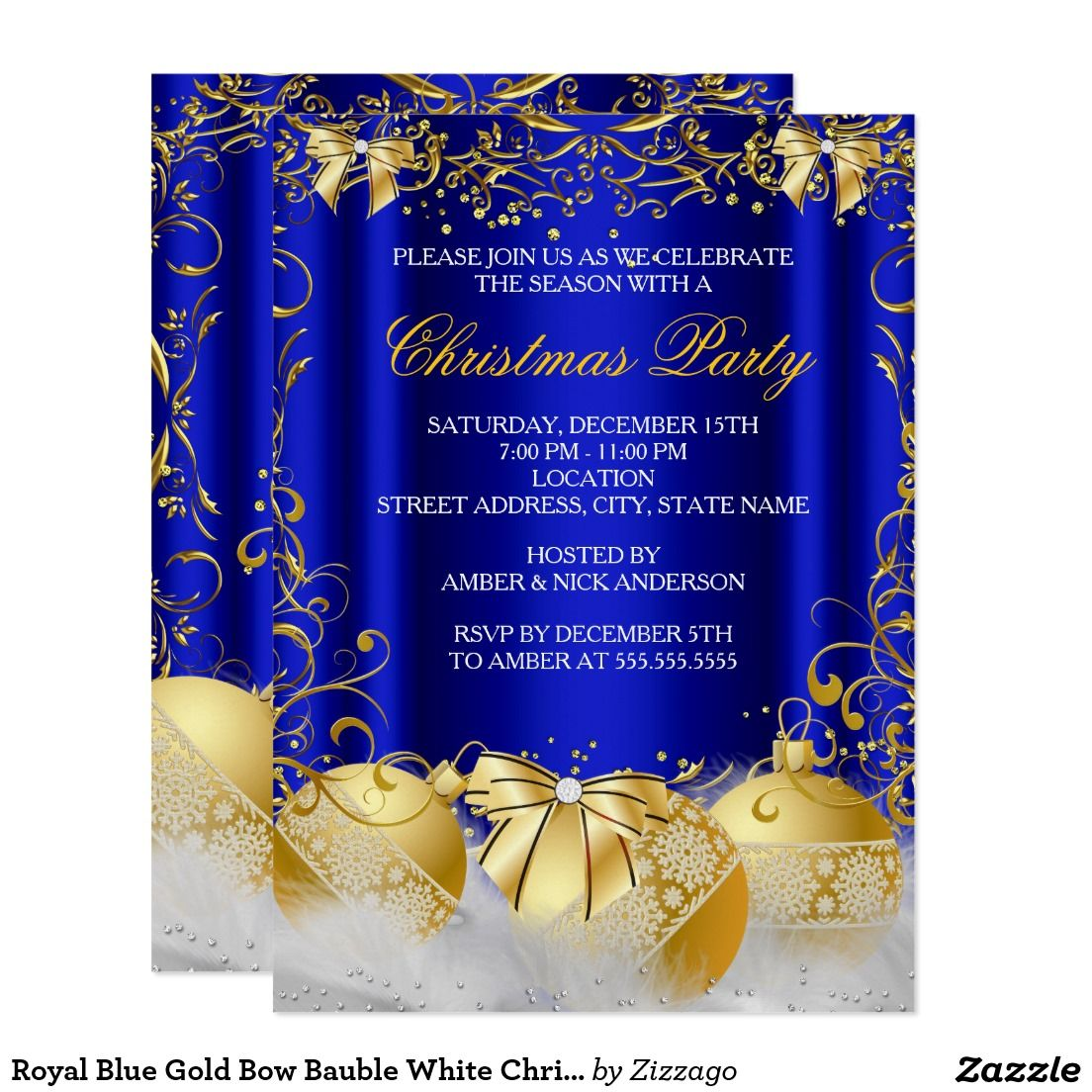 Royal Blue Gold Bow Bauble White Christmas Party Card | Christmas ...