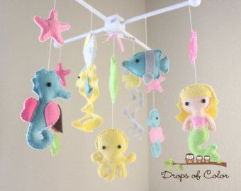 """Baby Crib Mobile - Baby Mobile - Nursery Crib Mobile - Ocean Mobile """"BIG Under the Sea Creatures"""" (You can Pick your colors)"""