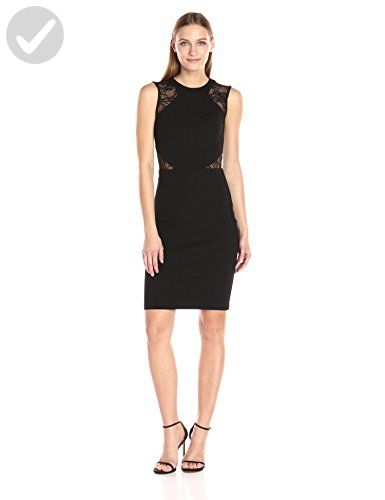 French Connection Womens Viven Lace Cap Sleeve Dress Black 12