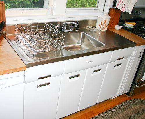 Joe Replaces A Vintage Porcelain Drainboard Kitchen Sink With A New Elkay Stainless Steel Drainboard Sink Kitchen Remodel Midcentury Kitchen Remodel Drainboard Sink Stainless steel kitchen sinks with drainboards