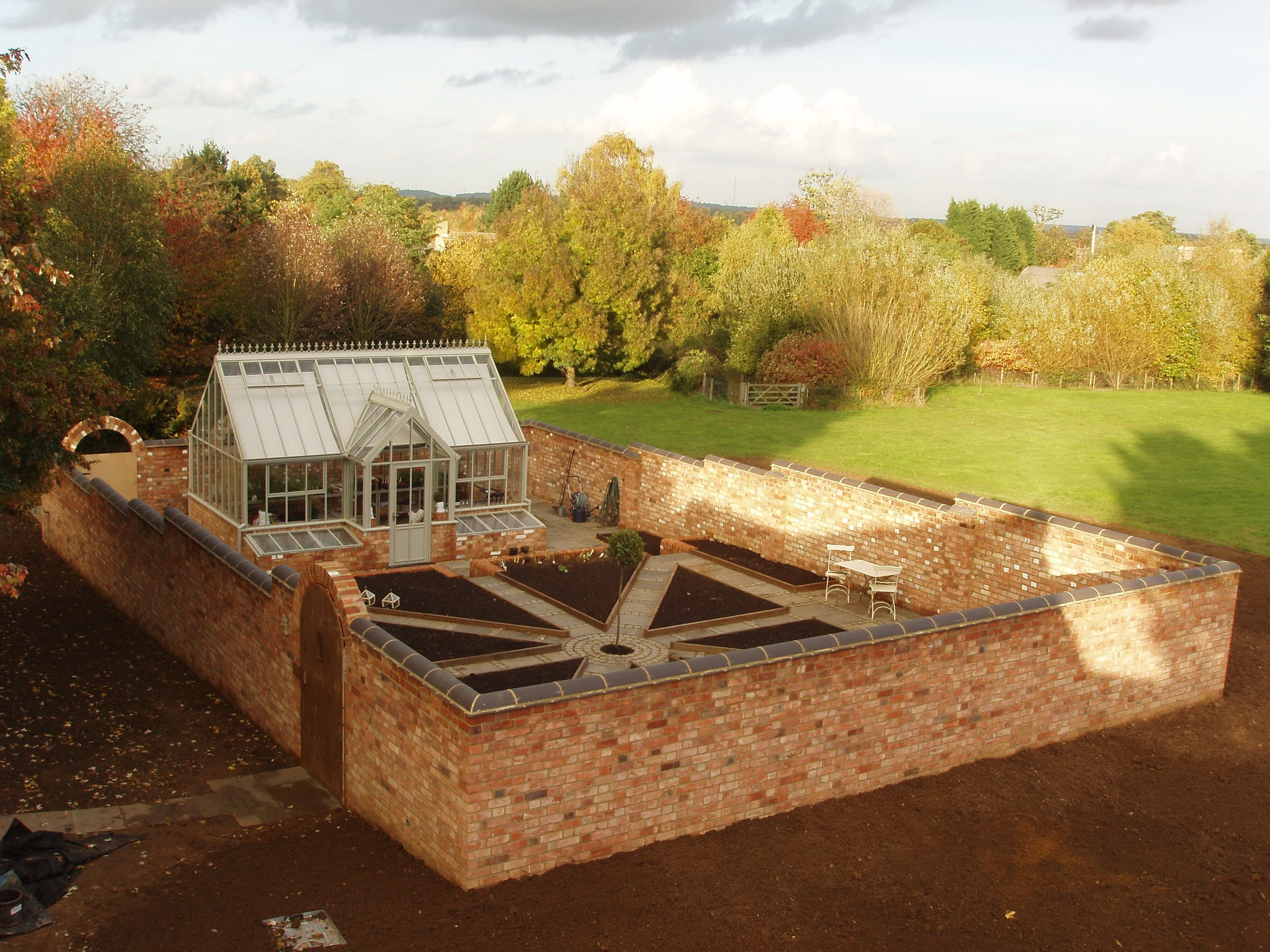 Construction just completeA productive walled kitchen garden
