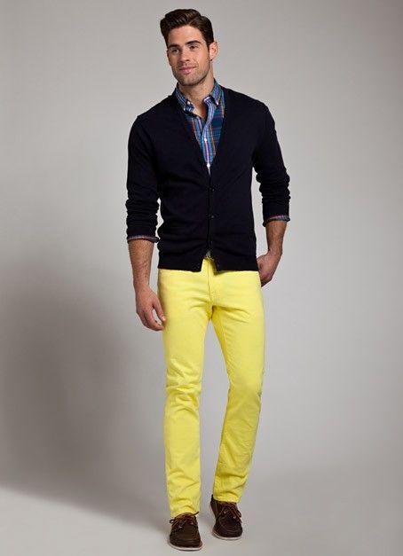 Men's Black Blazer, White Dress Shirt, Yellow Chinos, Brown ...