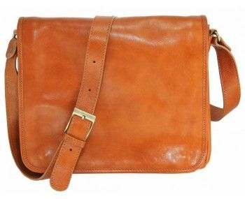 Spacious and comfortable leather satchel with shoulder belt