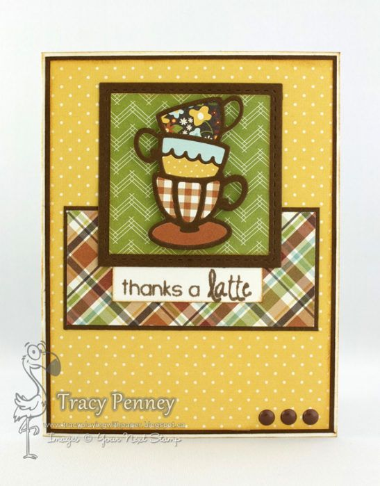 YNS Supplies:  Coffee and Tea Cup Stack Dies | Thanks A Latte (Sentiment) | Stitched Square Die set | Love Me Some Latte Gumdrops