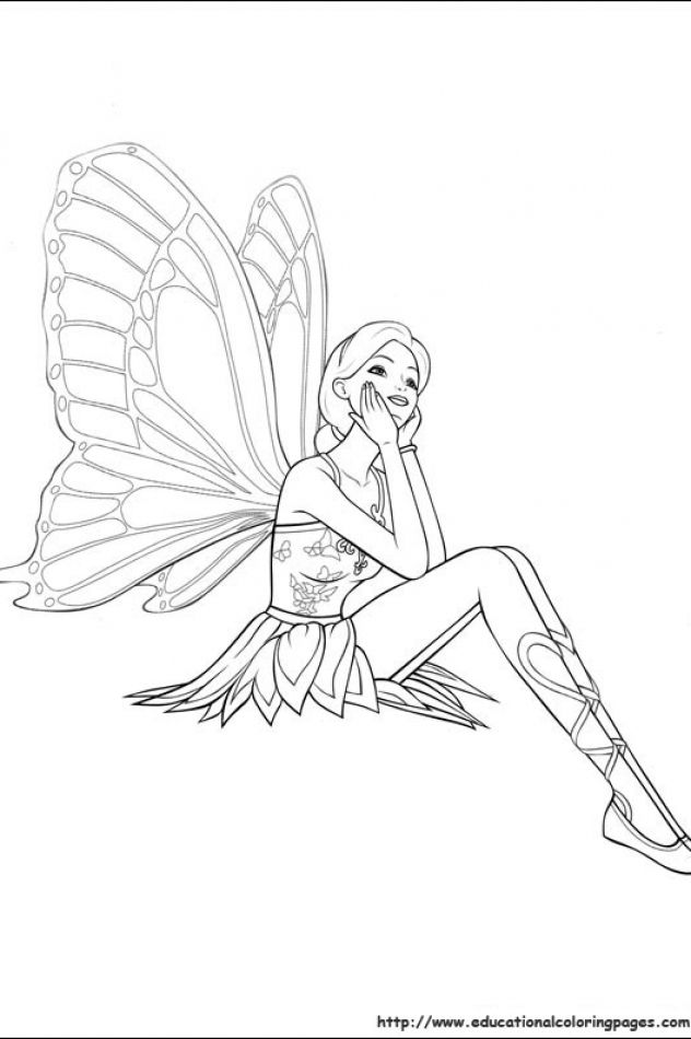 Barbie Mariposa Coloring Pages Free For Kids Mariposas Barbie