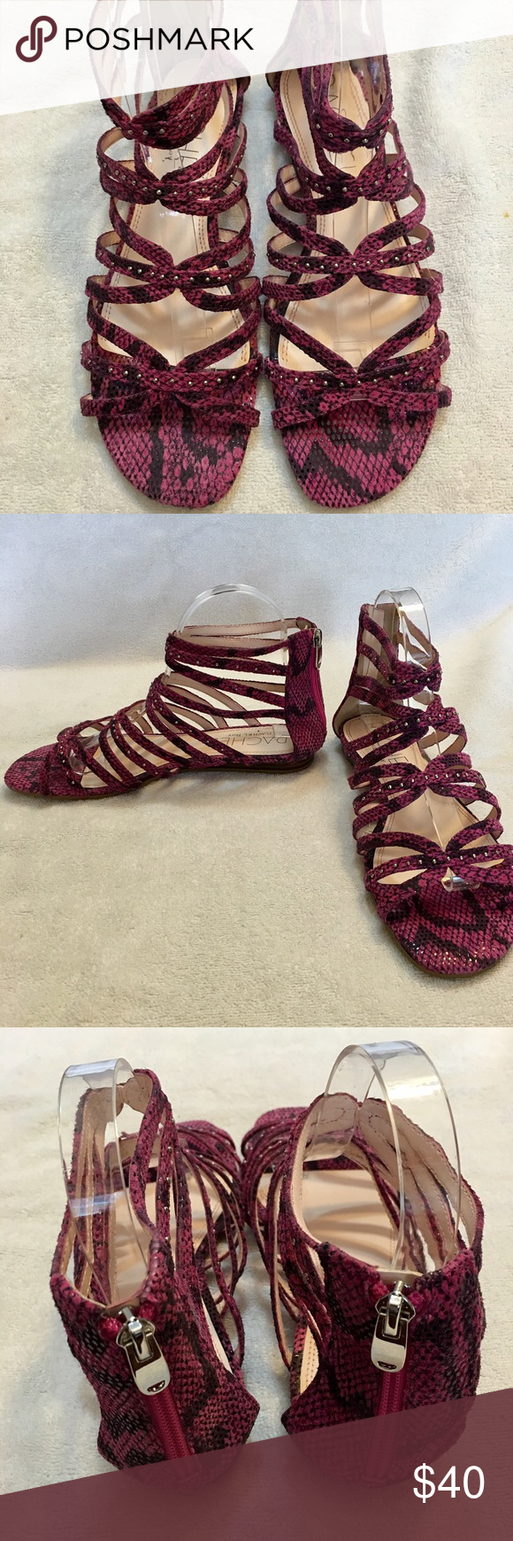 RACHEL ROY Gladiator Sandals, Size 8.5 New (NWOB) Rachel Roy, purple reptile print, gladiator style sandals. Leather upper with man-made sole. Size 8.5 (could probably fit a size 9, too). Never worn, only tried on. They were an impulse buy, but a little too big for me. Purchased on sale for $89 +tax. Rachel Roy Shoes Sandals