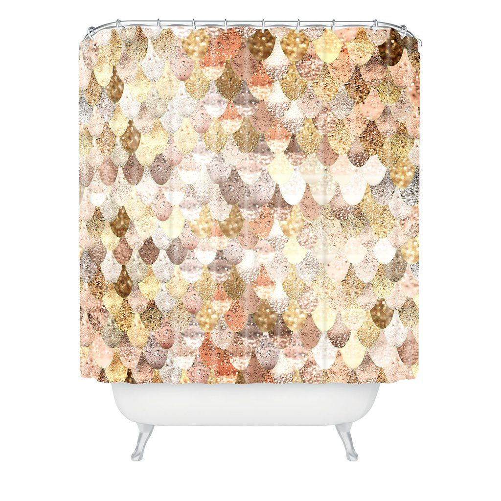 Monika Strigel Really Mermaid Gold Shower Curtain Deny Designs