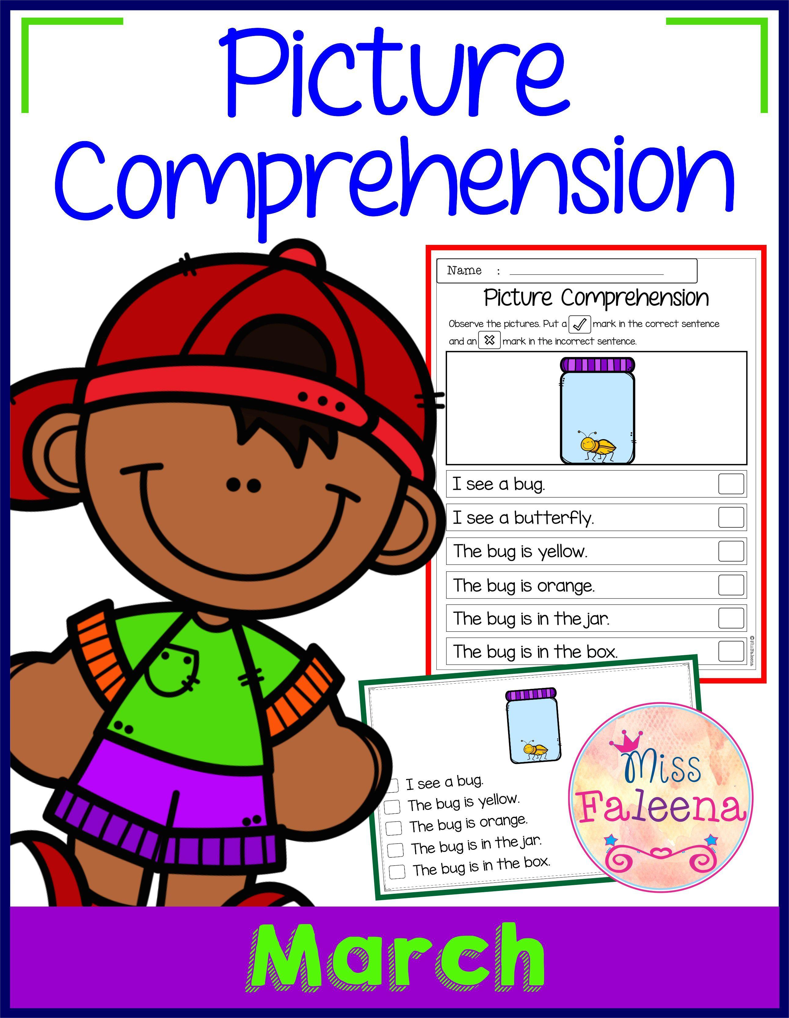 Worksheets Sentence Comprehension Worksheets march picture comprehension cards and worksheets worksheets