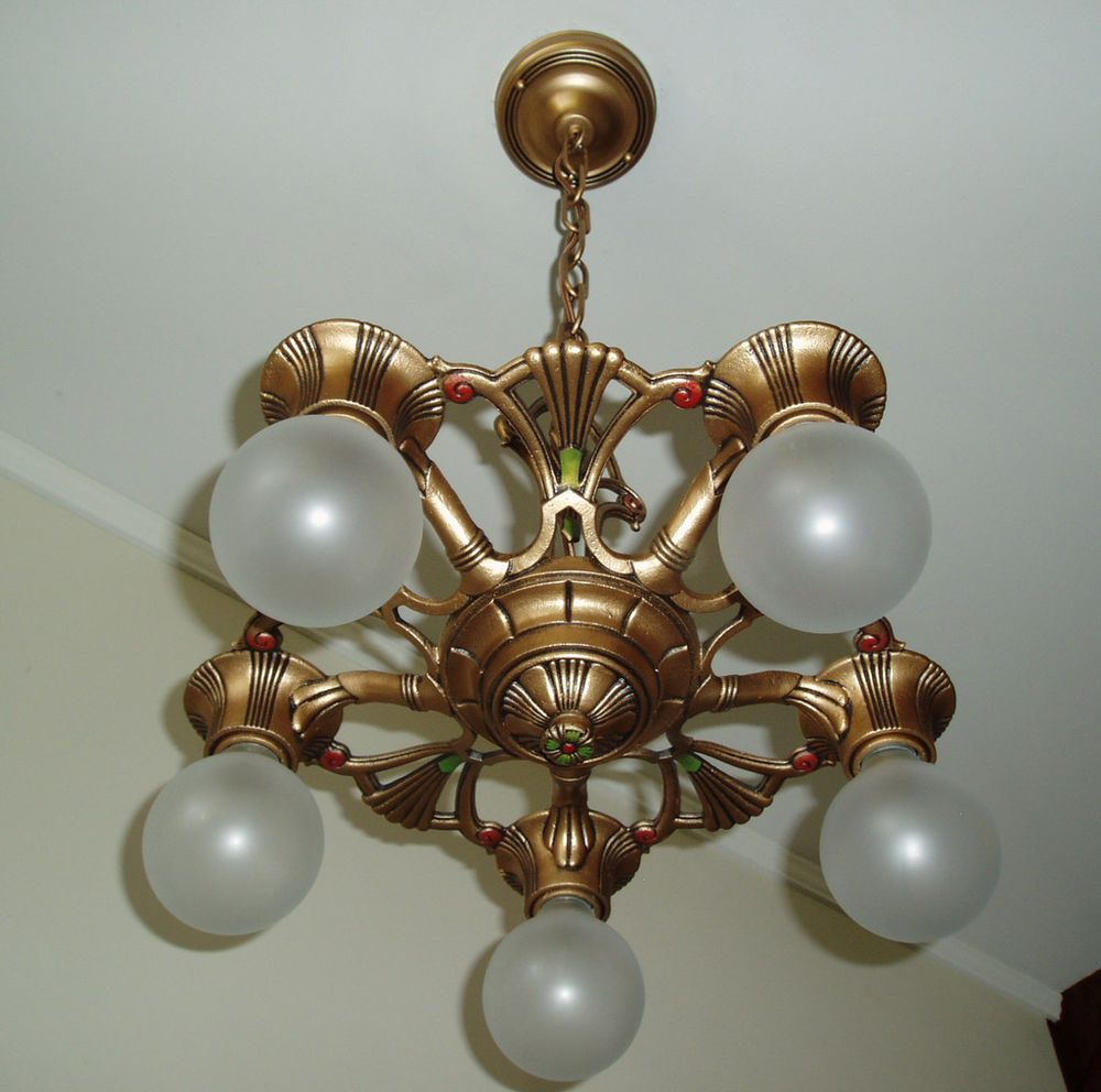 1930s vintage gold art deco cast iron metal ceiling light fixture chandelier