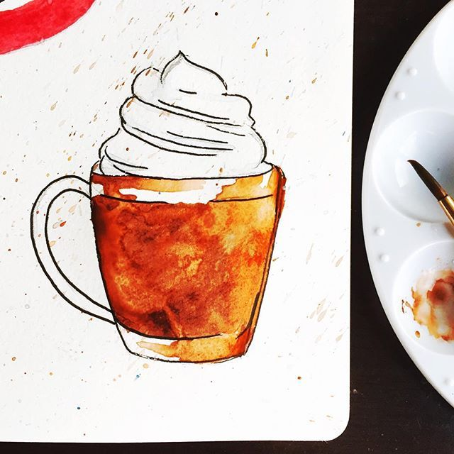Craving a caffè mocha this afternoon... ☕️ #watercolors