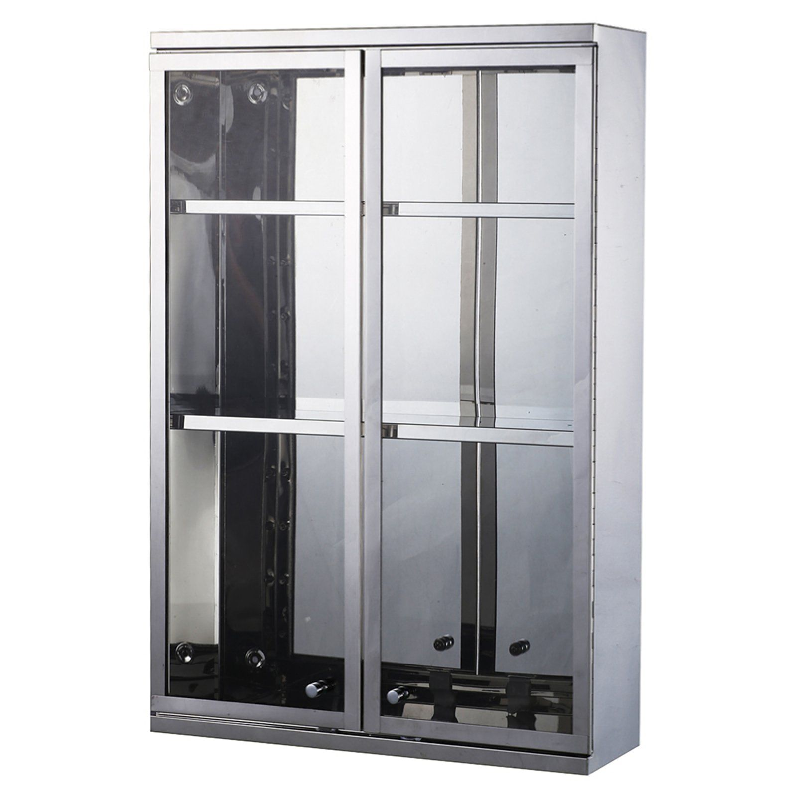 Homcom Stainless Steel Double Door Display Wall Cabinet Steel