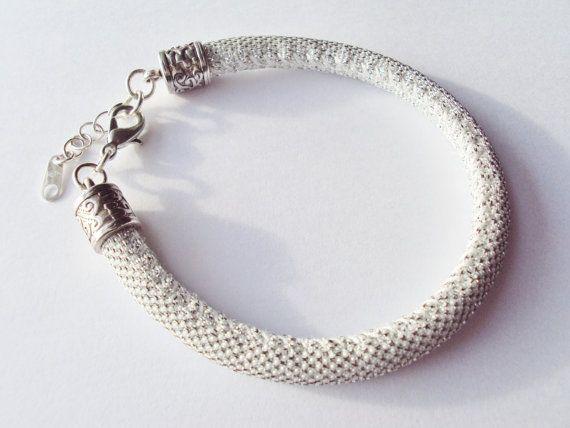 Silver Glitter Metallic Cord Bracelet by FineryBox on Etsy