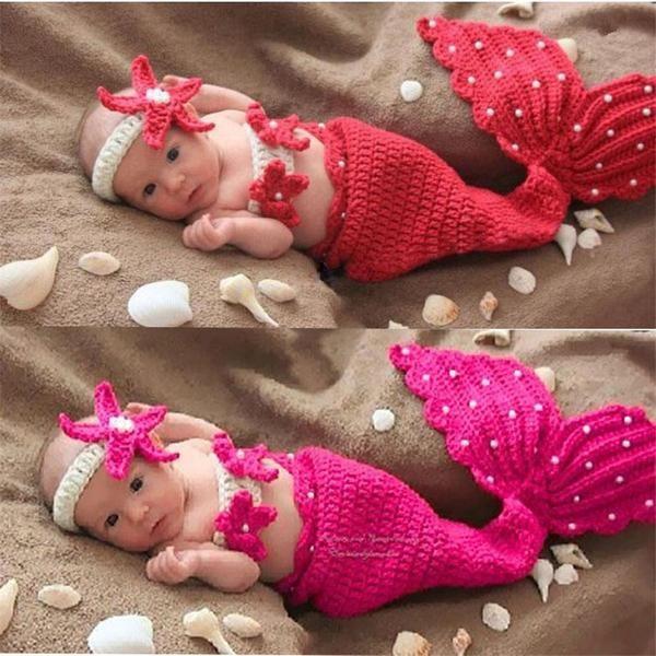 Mermaid Tail and Set (Baby Girl Photoshoot Props) | Handarbeiten ...