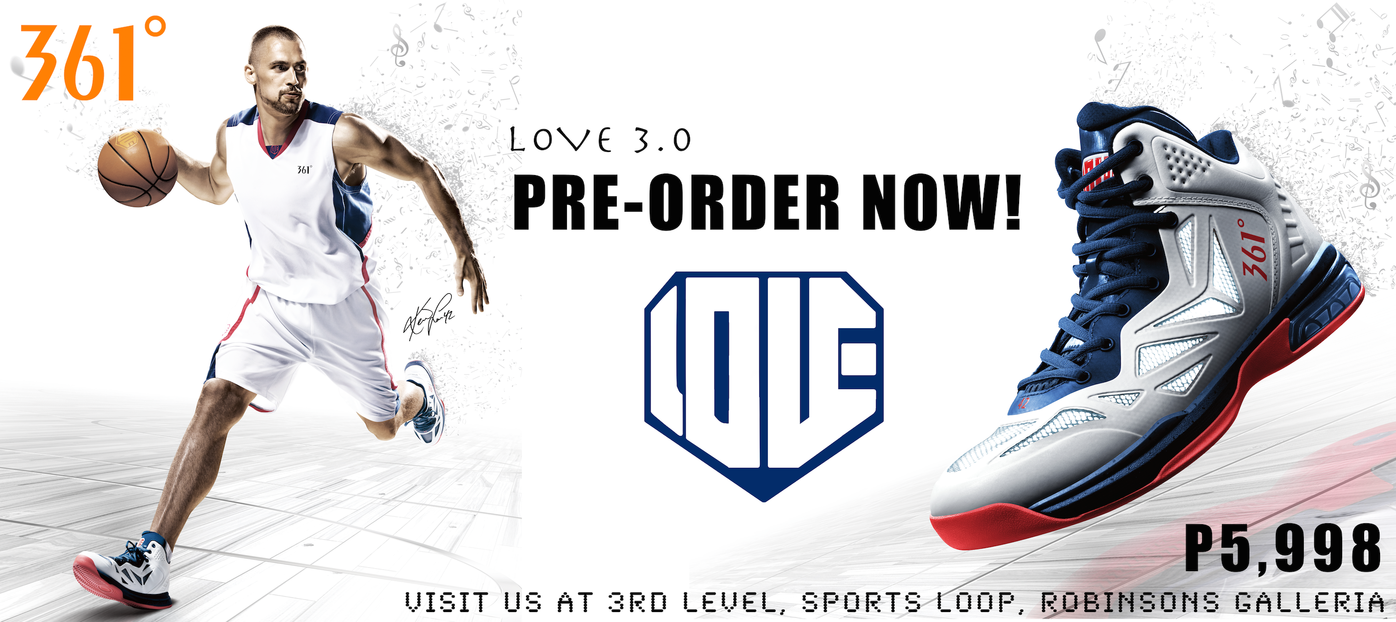 361 Degrees signature shoes, Love 3.0