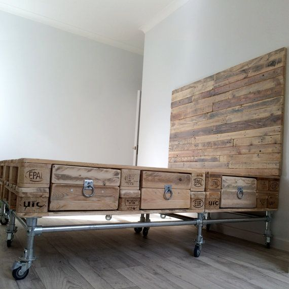 Scaffold and pallet wood bed with headboard and drawers for Bett industriedesign