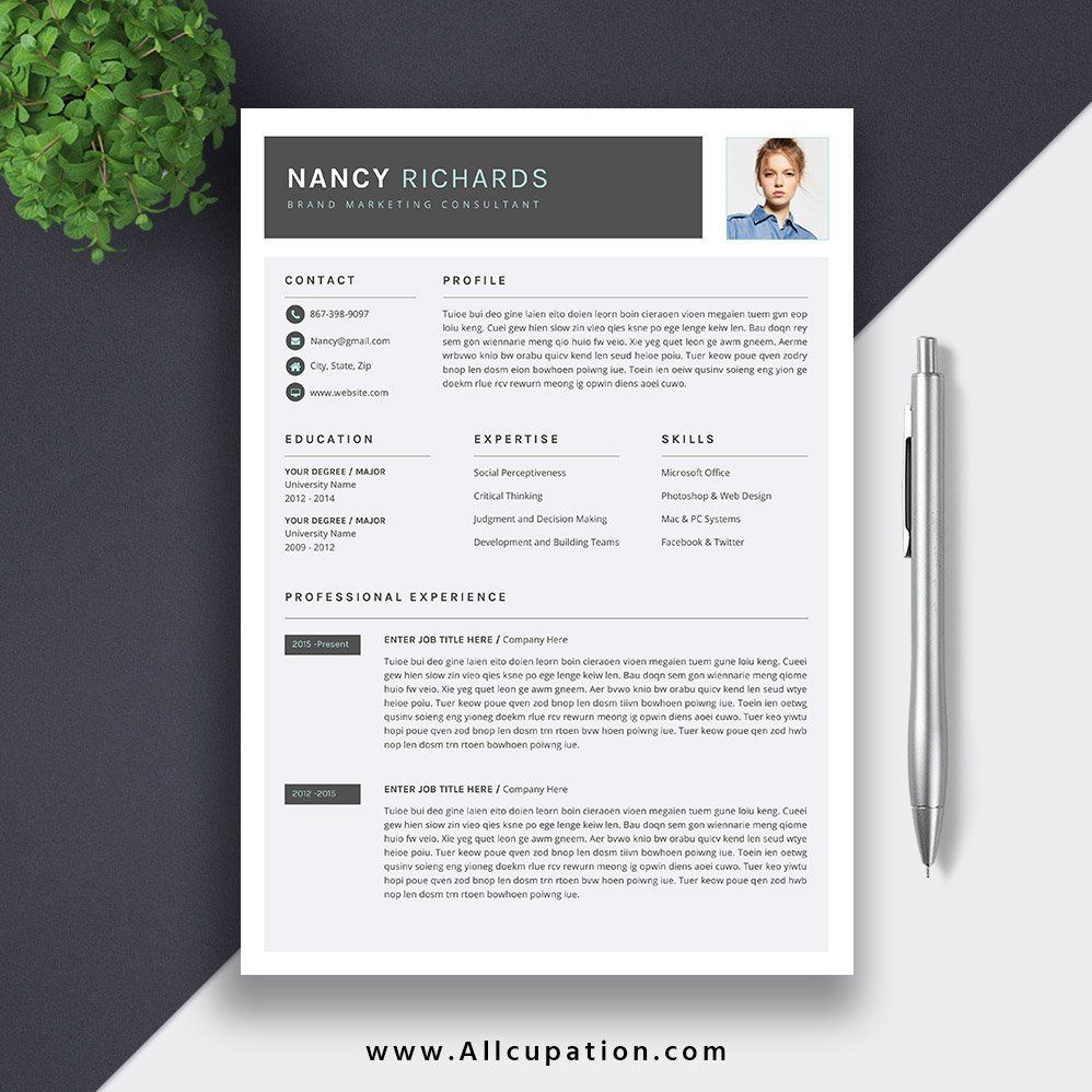Modern Resume 2019, Professional Resume, CV Template
