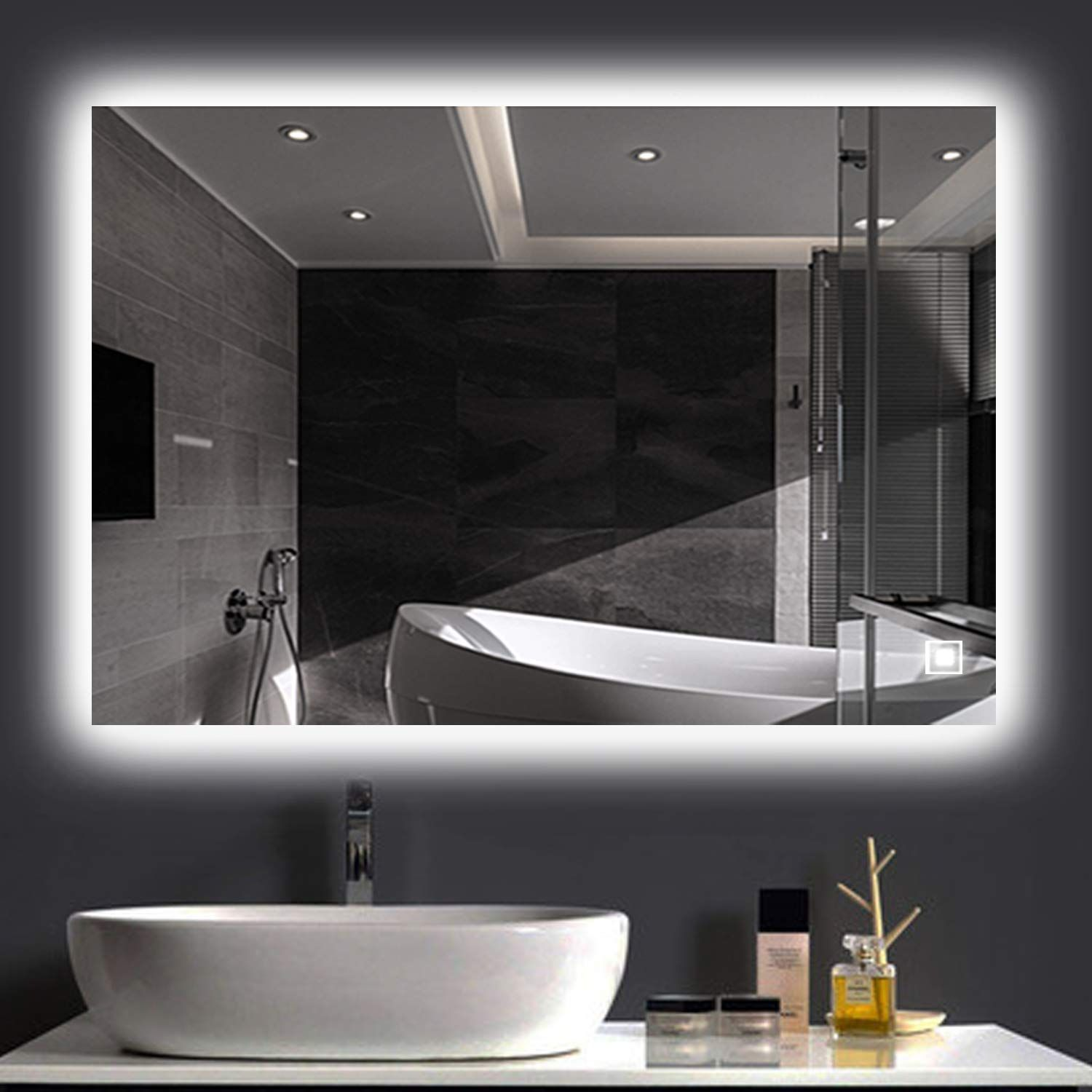 H and A HansandAlice LED Wall Mounted Backlit Mirror
