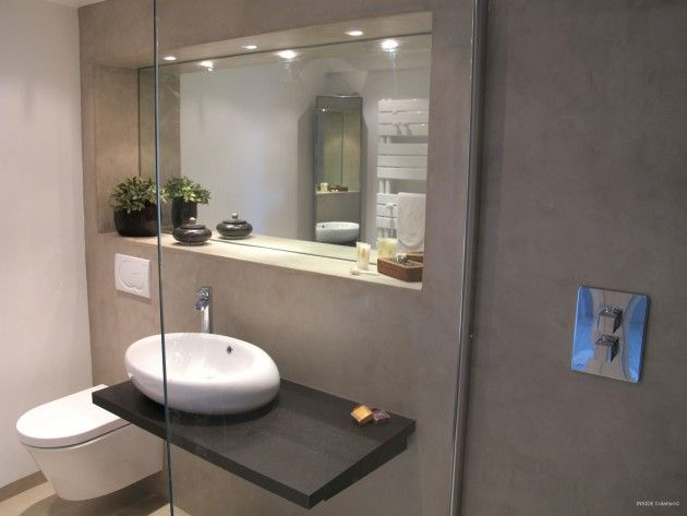 Salle de douche contemporaine inside cr ation douche l for Miroir galet