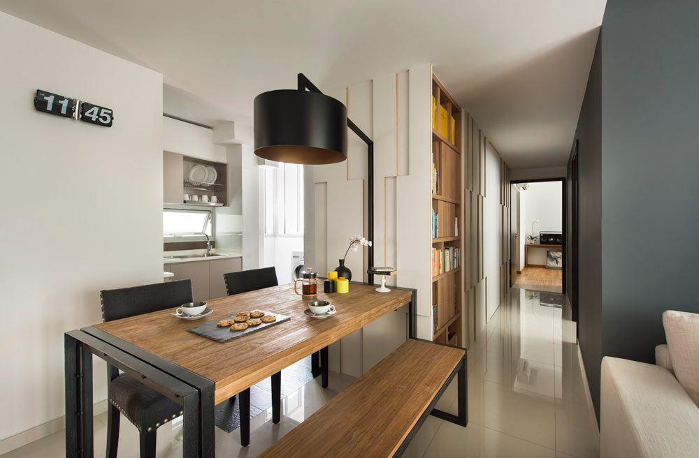 Natural Loft Scandinavian Condominium Interior Design Dining Cum Study Table
