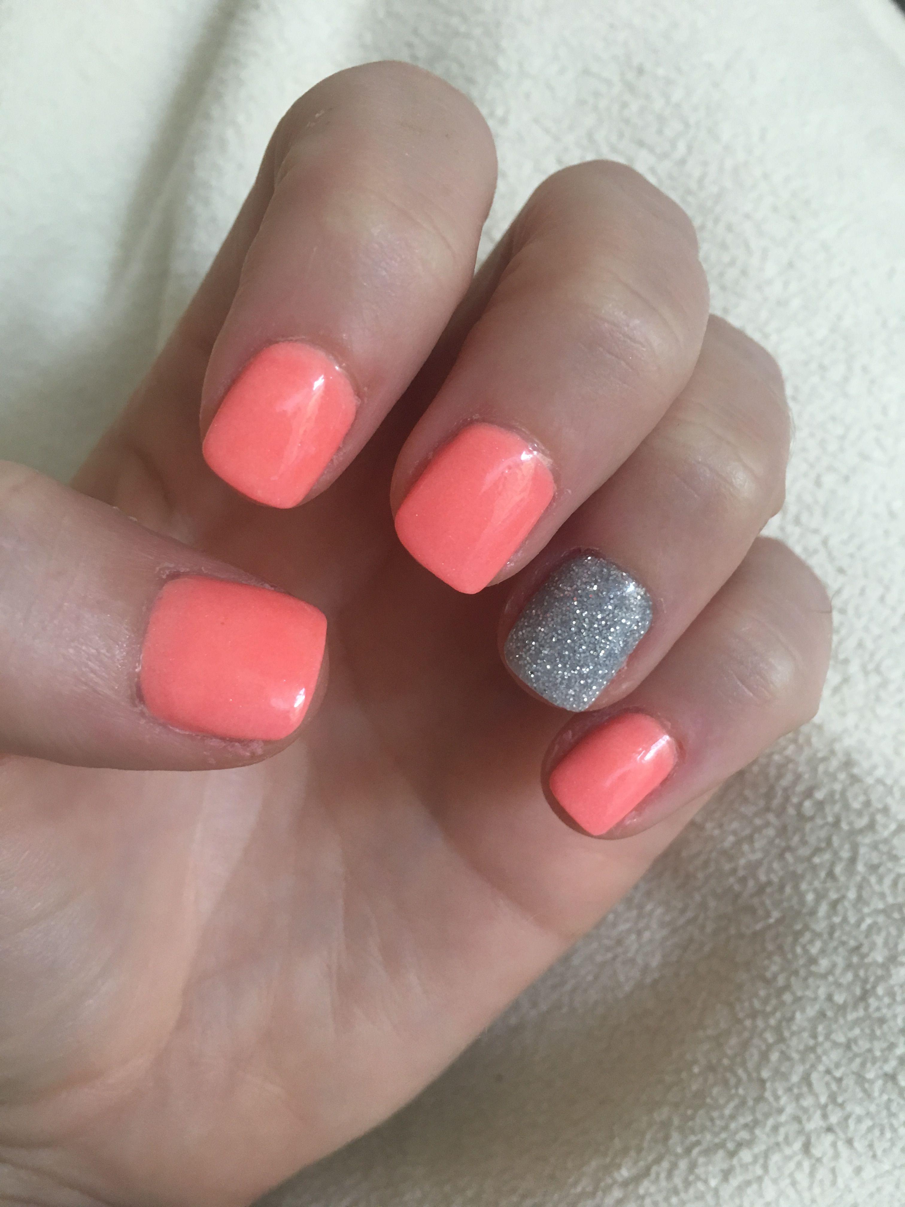 Neon Sparkle Silver And Coral Nexgen Nail Dip Acrylic Powder Perfect For Summer Nexgen Nails Nexgen Nails Colors Nail Designs Summer Acrylic
