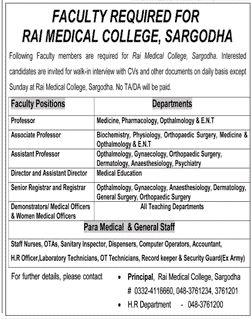 Rai Medical College Jobs  In Sargodha For Professors And