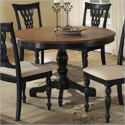 Hillsdale Embassy Round Pedestal Dining Table In Rubbed Black U0026 Cherry