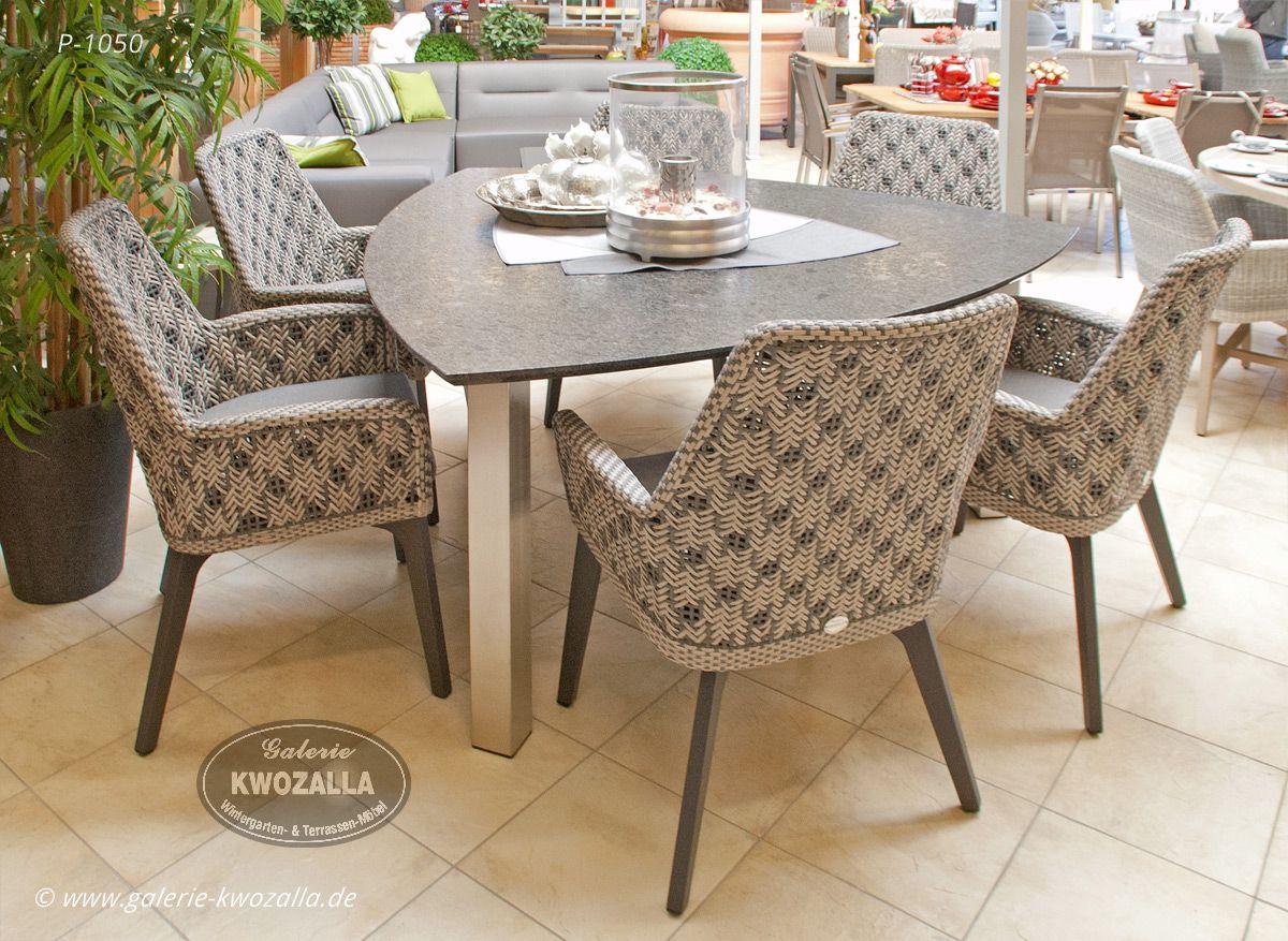 Hochwertige Gartensessel Edelstahl Tisch Esstisch Mit Dreieckiger Granitauflage Fur Den Garten Oder Terrasse Gartenmobel Mobel Balkonmobel