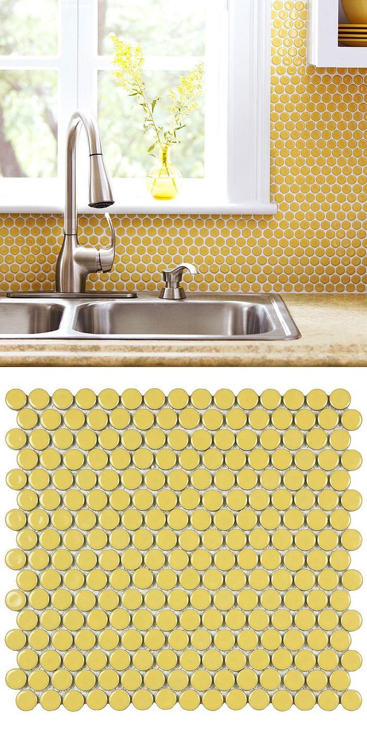 This Yellow Penny Round Tile Creates Such A Bright And Cheerful Look Used Here As A Kitchen Backsplash Yellow Kitchen Kitchen Tiles Kitchen Tiles Backsplash