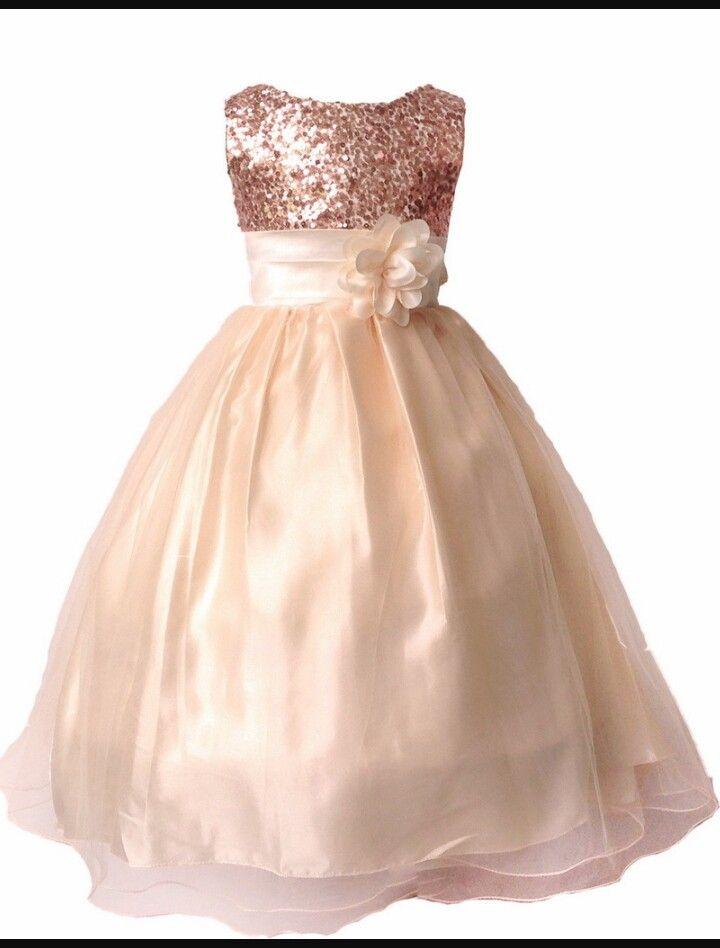 Sequined rose gold flower girl dress pinteres for Flower dress for wedding